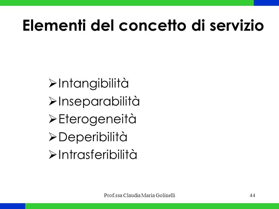Prof.ssa Claudia Maria Golinelli44 Elementi del concetto di servizio  Intangibilità  Inseparabilità  Eterogeneità  Deperibilità  Intrasferibilità