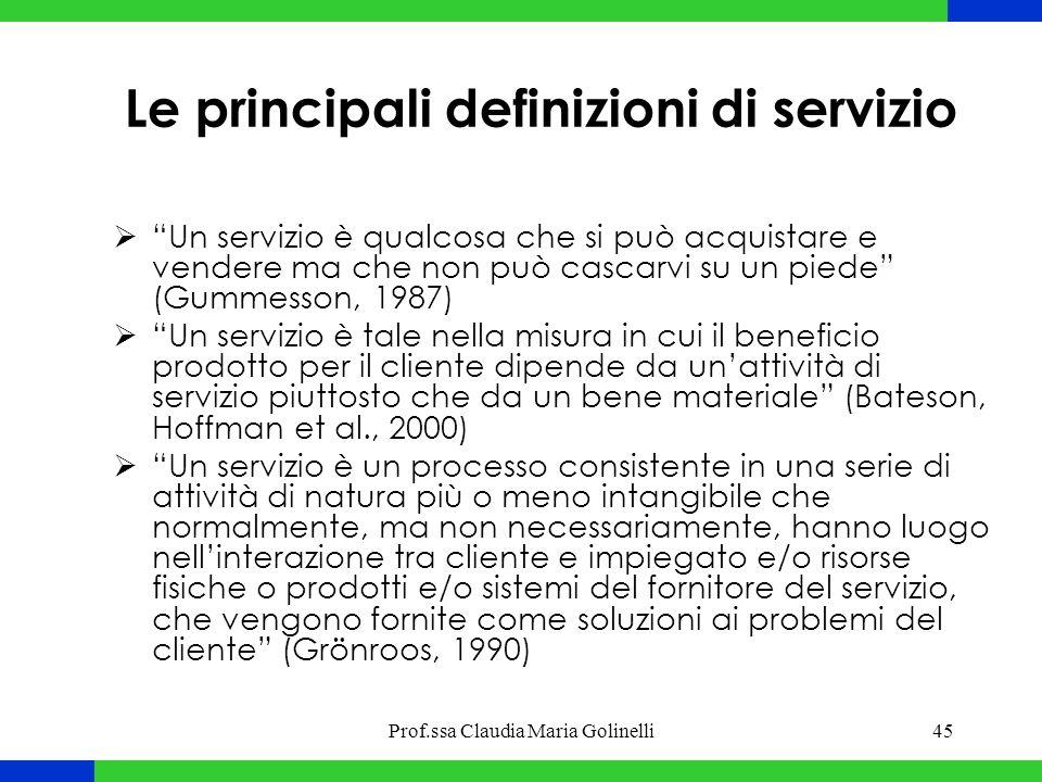 """Prof.ssa Claudia Maria Golinelli45 Le principali definizioni di servizio  """"Un servizio è qualcosa che si può acquistare e vendere ma che non può casc"""