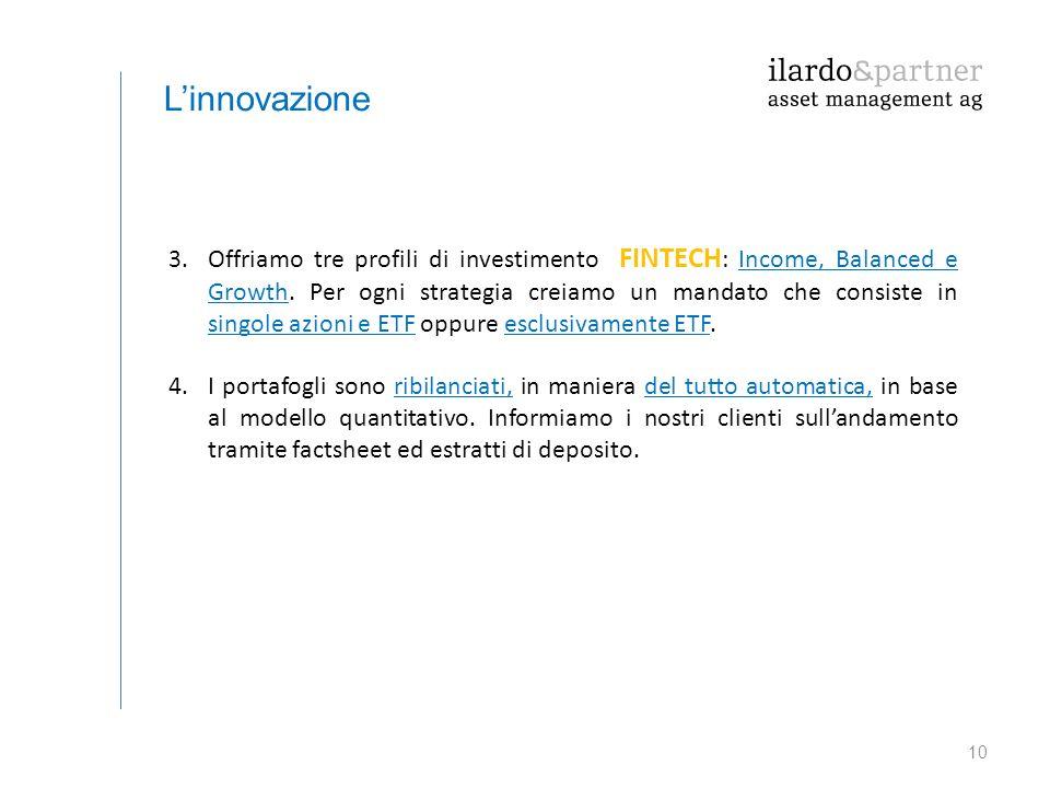 10 L'innovazione 3.Offriamo tre profili di investimento FINTECH : Income, Balanced e Growth. Per ogni strategia creiamo un mandato che consiste in sin