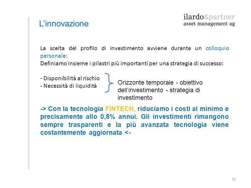11 L'innovazione La scelta del profilo di investimento avviene durante un colloquio personale: Definiamo insieme i pilastri più importanti per una str