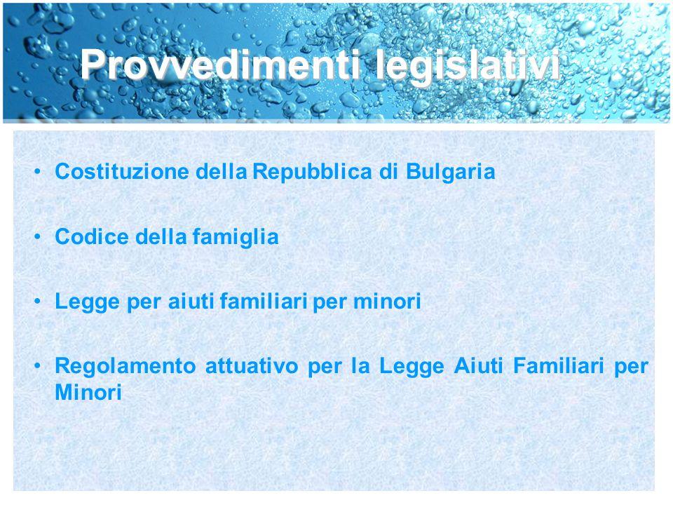 Provvedimenti legislativi Costituzione della Repubblica di Bulgaria Codice della famiglia Legge per aiuti familiari per minori Regolamento attuativo per la Legge Aiuti Familiari per Minori