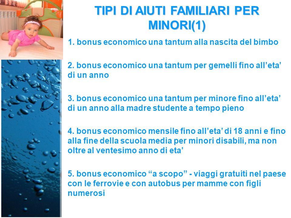 TIPI DI AIUTI FAMILIARI PER MINORI(1) 1. bonus economico una tantum alla nascita del bimbo 2.