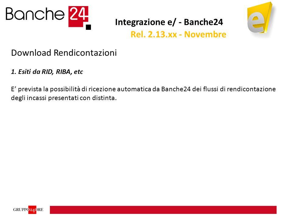 Integrazione e/ - Banche24 Download Rendicontazioni 1. Esiti da RID, RIBA, etc E' prevista la possibilità di ricezione automatica da Banche24 dei flus