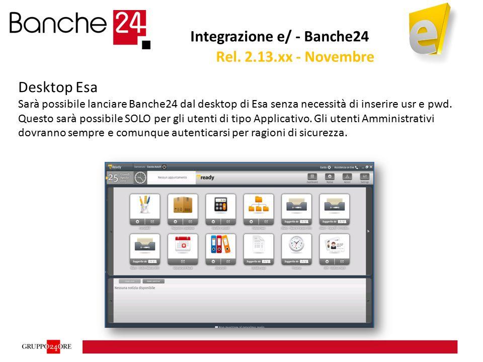 Integrazione e/ - Banche24 Desktop Esa Sarà possibile lanciare Banche24 dal desktop di Esa senza necessità di inserire usr e pwd. Questo sarà possibil