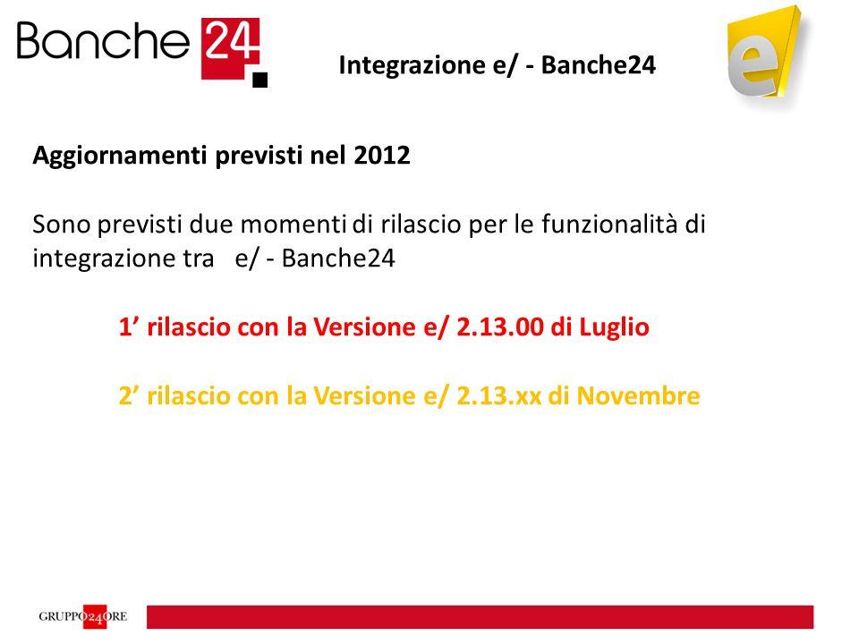 Integrazione e/ - Banche24 Aggiornamenti previsti nel 2012 Sono previsti due momenti di rilascio per le funzionalità di integrazione tra e/ - Banche24 1' rilascio con la Versione e/ 2.13.00 di Luglio 2' rilascio con la Versione e/ 2.13.xx di Novembre