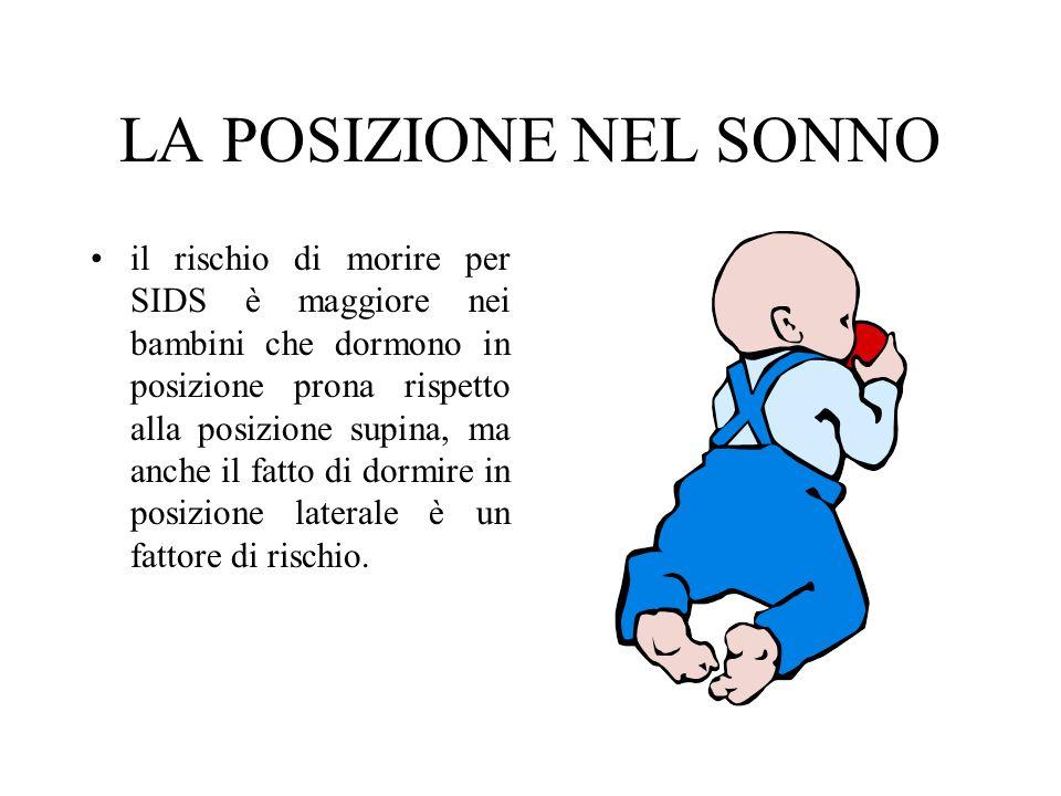 LA POSIZIONE NEL SONNO il rischio di morire per SIDS è maggiore nei bambini che dormono in posizione prona rispetto alla posizione supina, ma anche il fatto di dormire in posizione laterale è un fattore di rischio.
