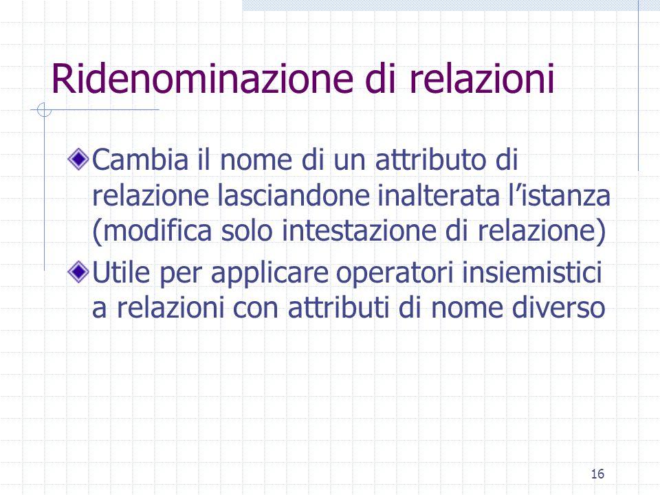 16 Ridenominazione di relazioni Cambia il nome di un attributo di relazione lasciandone inalterata l'istanza (modifica solo intestazione di relazione)