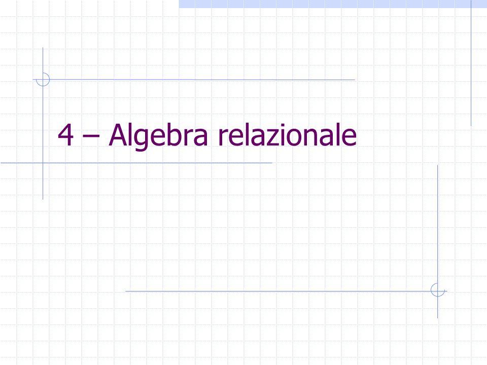 4 – Algebra relazionale
