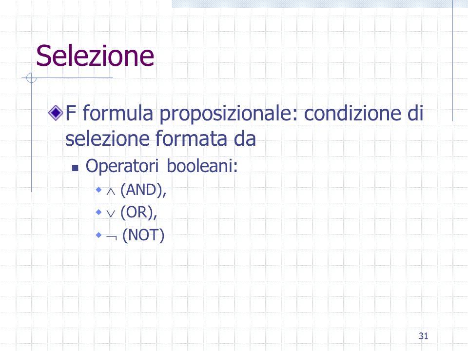 31 Selezione F formula proposizionale: condizione di selezione formata da Operatori booleani:   (AND),   (OR),   (NOT)