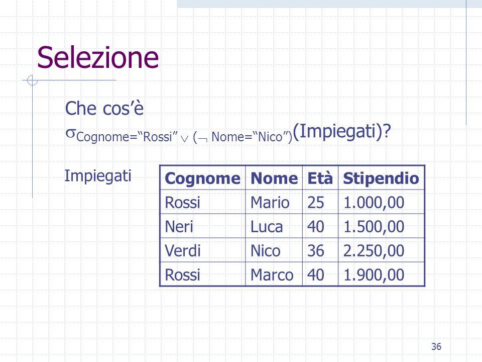 """36 Selezione CognomeNomeEtàStipendio RossiMario251.000,00 NeriLuca401.500,00 VerdiNico362.250,00 RossiMarco401.900,00 Impiegati Che cos'è  Cognome=""""R"""