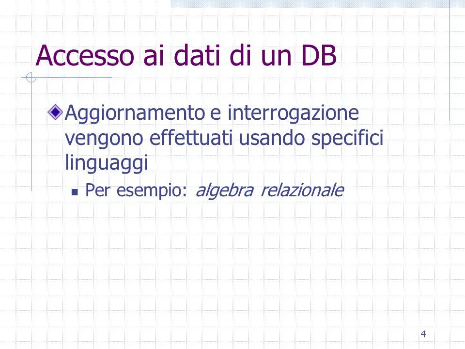 4 Accesso ai dati di un DB Aggiornamento e interrogazione vengono effettuati usando specifici linguaggi Per esempio: algebra relazionale