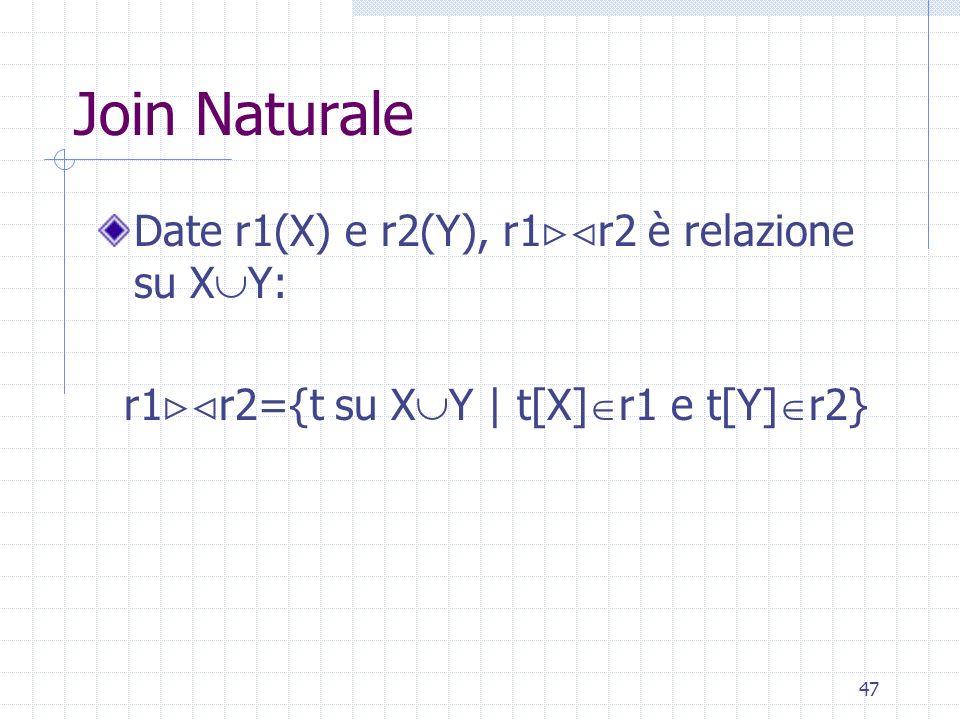 47 Join Naturale Date r1(X) e r2(Y), r1  r2 è relazione su X  Y: r1  r2={t su X  Y | t[X]  r1 e t[Y]  r2}