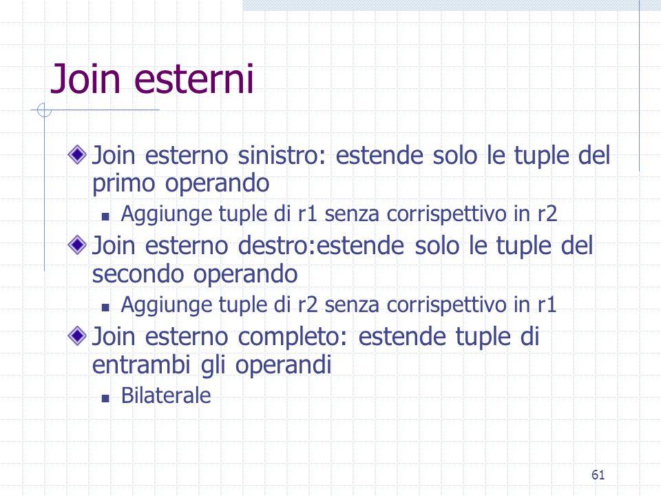61 Join esterni Join esterno sinistro: estende solo le tuple del primo operando Aggiunge tuple di r1 senza corrispettivo in r2 Join esterno destro:est