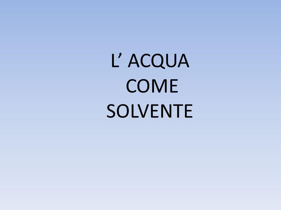 La solubilità per ogni sostanza è: la quantità massima di sostanza che può essere sciolta in un determinato volume di acqua Quindi la solubilità è un rapporto!!.