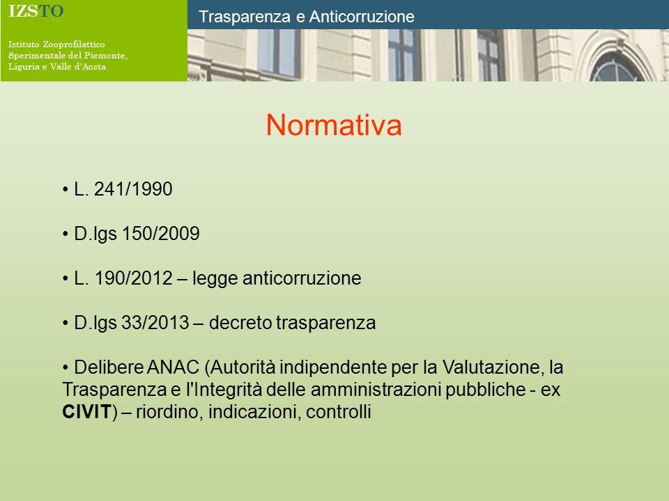IZSTO Istituto Zooprofilattico Sperimentale del Piemonte, Liguria e Valle d'Aosta Trasparenza e Anticorruzione Normativa L. 241/1990 D.lgs 150/2009 L.