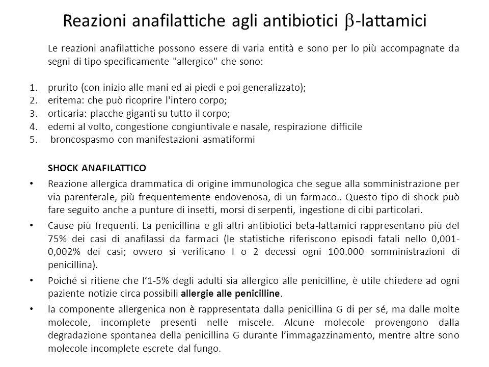 Reazioni anafilattiche agli antibiotici  -lattamici Le reazioni anafilattiche possono essere di varia entità e sono per lo più accompagnate da segni di tipo specificamente allergico che sono: 1.prurito (con inizio alle mani ed ai piedi e poi generalizzato); 2.eritema: che può ricoprire l intero corpo; 3.orticaria: placche giganti su tutto il corpo; 4.edemi al volto, congestione congiuntivale e nasale, respirazione difficile 5.