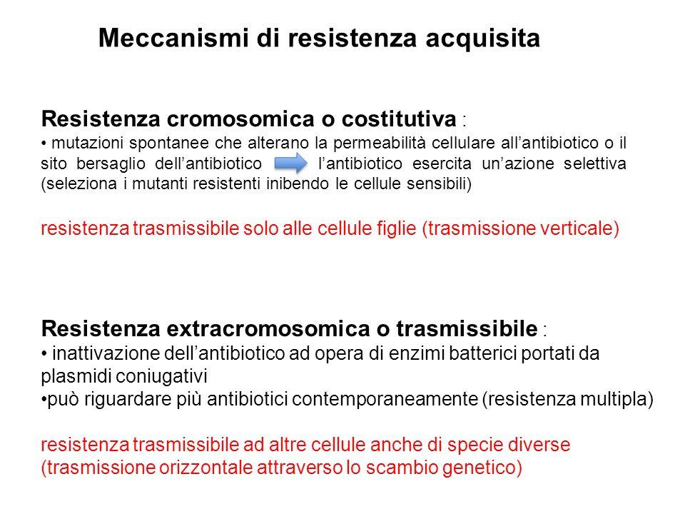Meccanismi di resistenza acquisita Resistenza cromosomica o costitutiva : mutazioni spontanee che alterano la permeabilità cellulare all'antibiotico o il sito bersaglio dell'antibiotico l'antibiotico esercita un'azione selettiva (seleziona i mutanti resistenti inibendo le cellule sensibili) resistenza trasmissibile solo alle cellule figlie (trasmissione verticale) Resistenza extracromosomica o trasmissibile : inattivazione dell'antibiotico ad opera di enzimi batterici portati da plasmidi coniugativi può riguardare più antibiotici contemporaneamente (resistenza multipla) resistenza trasmissibile ad altre cellule anche di specie diverse (trasmissione orizzontale attraverso lo scambio genetico)
