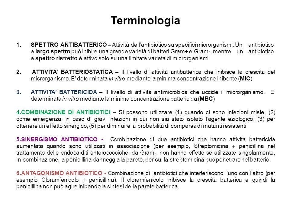 Terminologia 1.SPETTRO ANTIBATTERICO – Attività dell'antibiotico su specifici microrganismi.