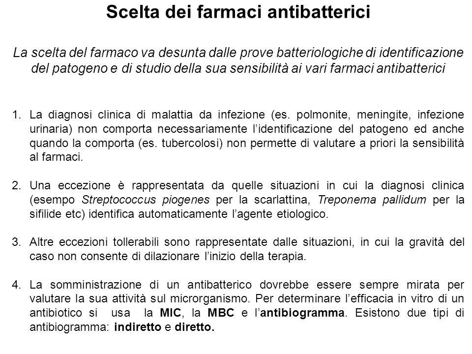 Scelta dei farmaci antibatterici La scelta del farmaco va desunta dalle prove batteriologiche di identificazione del patogeno e di studio della sua sensibilità ai vari farmaci antibatterici 1.La diagnosi clinica di malattia da infezione (es.