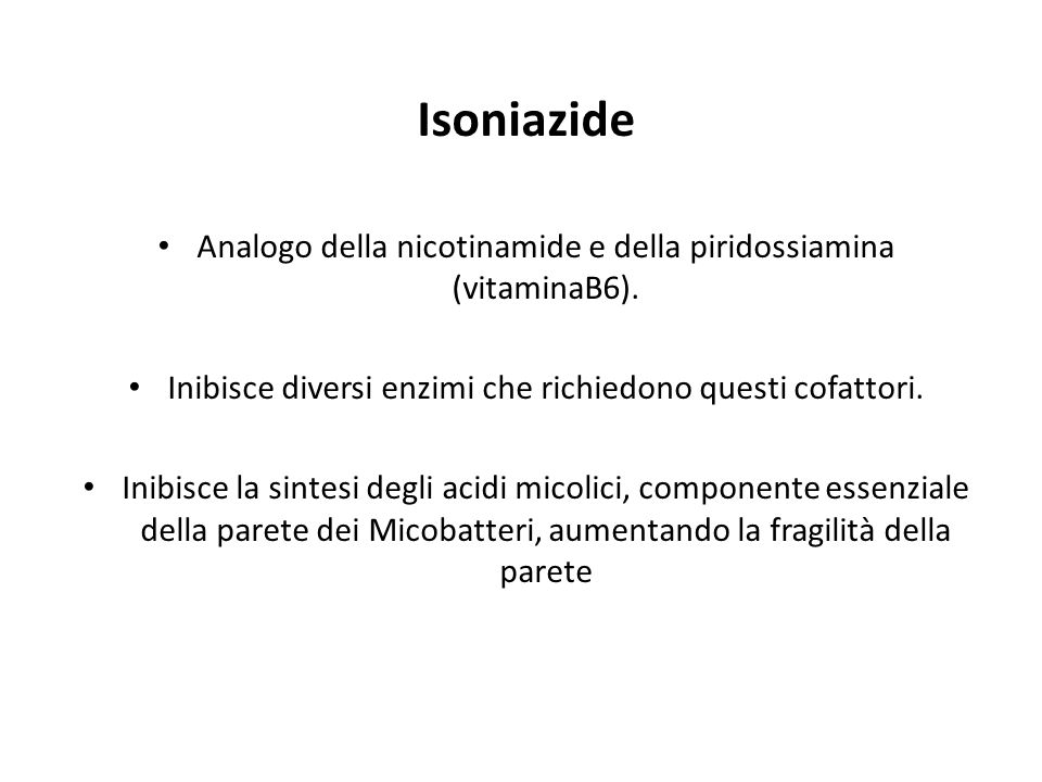 Isoniazide Analogo della nicotinamide e della piridossiamina (vitaminaB6).