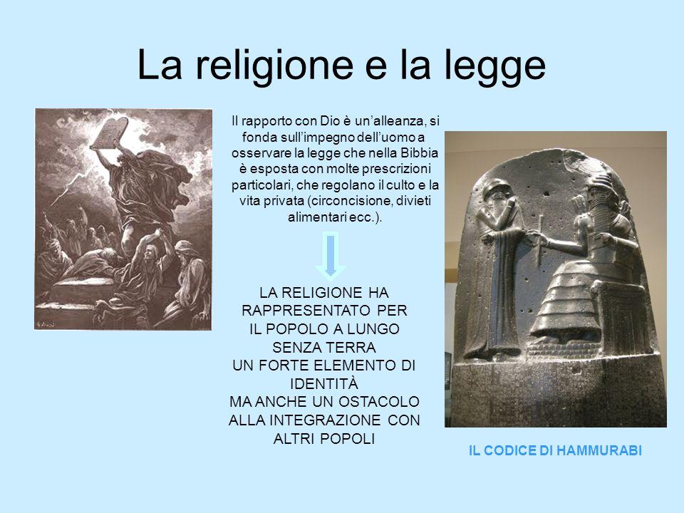 La religione e la legge Il rapporto con Dio è un'alleanza, si fonda sull'impegno dell'uomo a osservare la legge che nella Bibbia è esposta con molte p