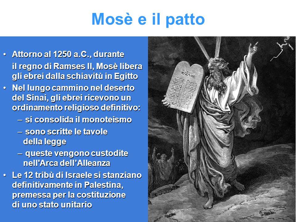 Mosè e il patto Attorno al 1250 a.C., duranteAttorno al 1250 a.C., durante il regno di Ramses Il, Mosè libera gli ebrei dalla schiavitù in Egitto Nel