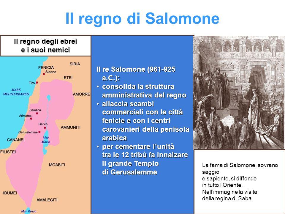 Il regno di Salomone Il re Salomone (961-925 a.C.): consolida la struttura amministrativa del regnoconsolida la struttura amministrativa del regno all