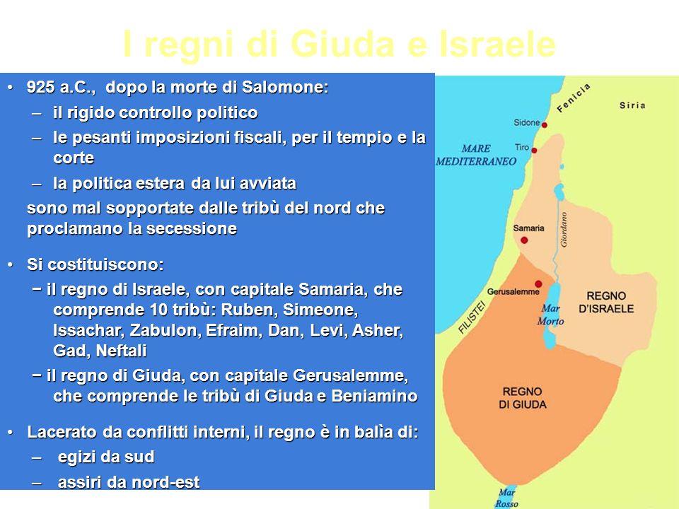 I regni di Giuda e Israele 925 a.C., dopo la morte di Salomone:925 a.C., dopo la morte di Salomone: –il rigido controllo politico –le pesanti imposizi