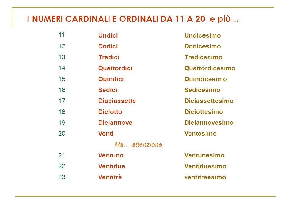 11 UndiciUndicesimo 12DodiciDodicesimo 13TrediciTredicesimo 14QuattordiciQuattordicesimo 15QuindiciQuindicesimo 16SediciSedicesimo 17DiaciassetteDicia