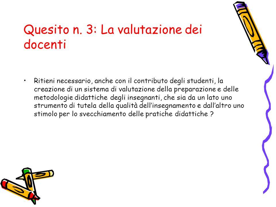 Quesito n. 3: La valutazione dei docenti Ritieni necessario, anche con il contributo degli studenti, la creazione di un sistema di valutazione della p