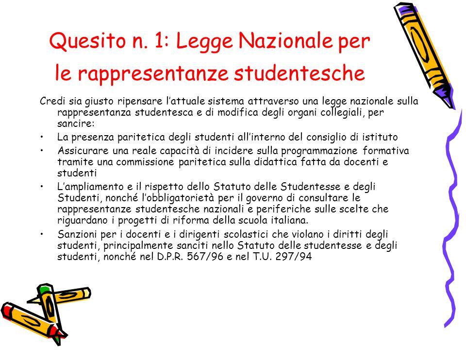 Quesito n. 1: Legge Nazionale per le rappresentanze studentesche Credi sia giusto ripensare l'attuale sistema attraverso una legge nazionale sulla rap