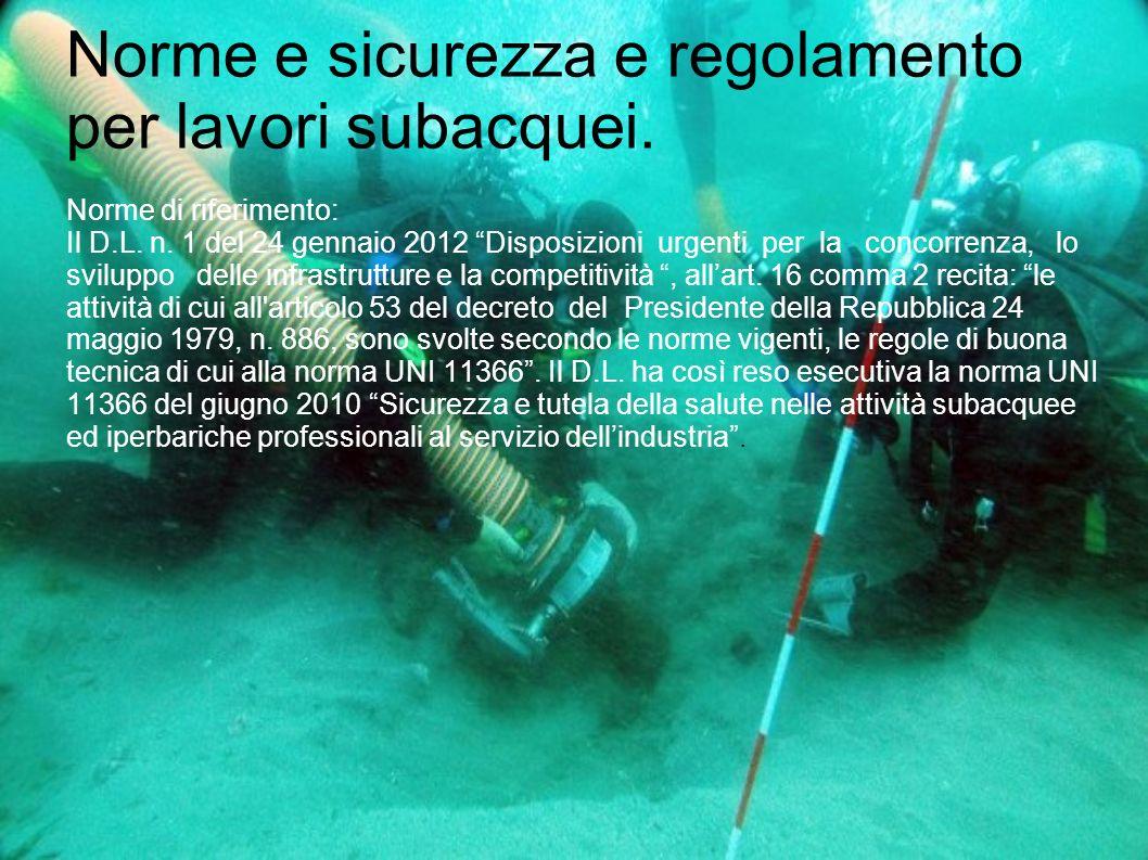 """Norme e sicurezza e regolamento per lavori subacquei. Norme di riferimento: Il D.L. n. 1 del 24 gennaio 2012 """"Disposizioni urgenti per la concorrenza,"""