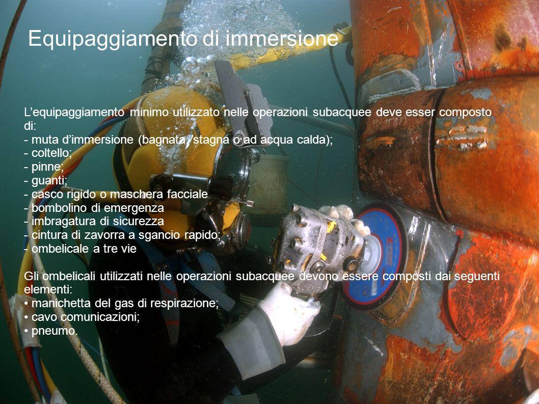 Equipaggiamento di immersione L'equipaggiamento minimo utilizzato nelle operazioni subacquee deve esser composto di: - muta d'immersione (bagnata, sta