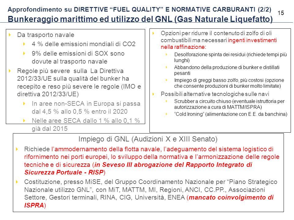 """15 Approfondimento su DIRETTIVE """"FUEL QUALITY"""" E NORMATIVE CARBURANTI (2/2) Bunkeraggio marittimo ed utilizzo del GNL (Gas Naturale Liquefatto) Opzion"""