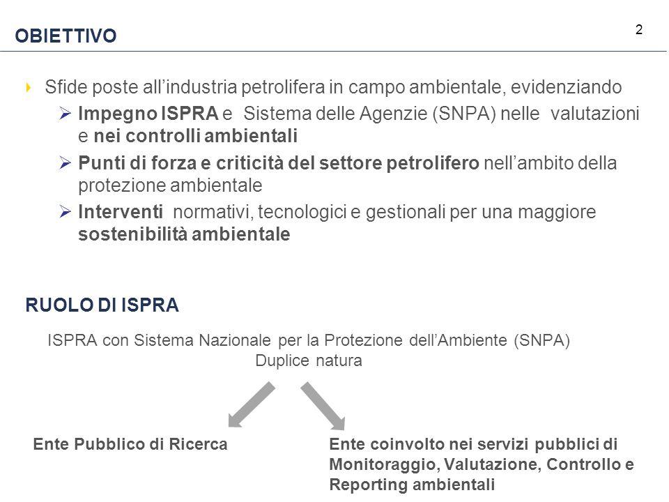 2 OBIETTIVO Sfide poste all'industria petrolifera in campo ambientale, evidenziando  Impegno ISPRA e Sistema delle Agenzie (SNPA) nelle valutazioni e