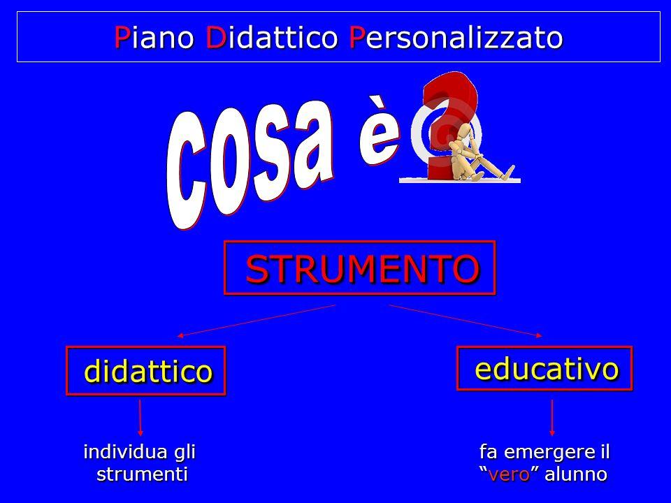Piano Didattico Personalizzato STRUMENTO STRUMENTO STRUMENTO educativo educativo didattico didattico didattico individua gli strumenti fa emergere il vero alunno