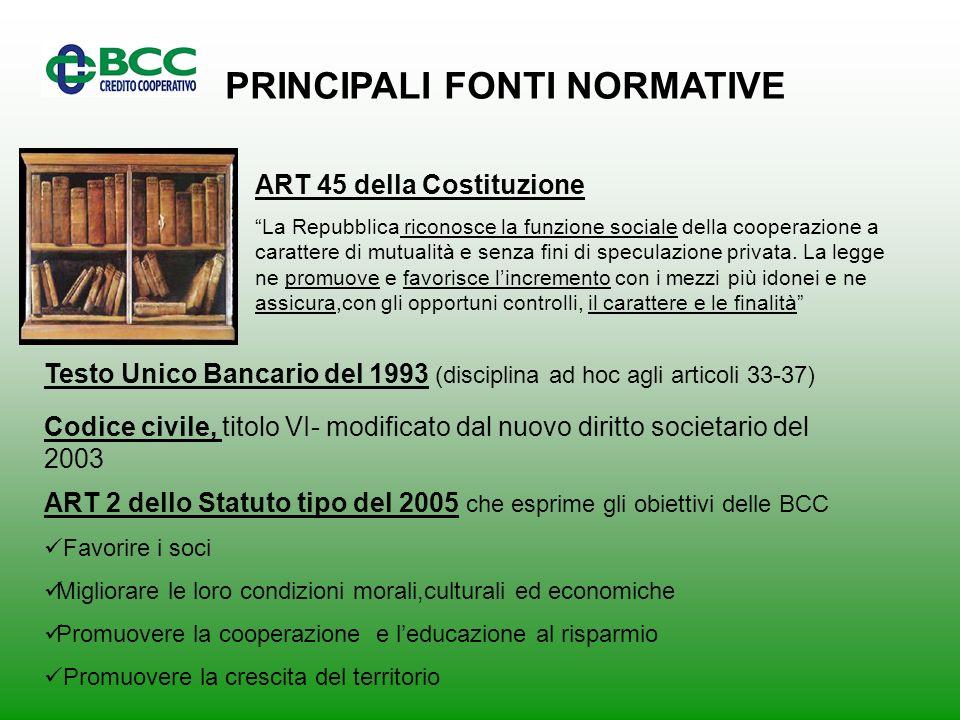 PRINCIPALI FONTI NORMATIVE ART 45 della Costituzione La Repubblica riconosce la funzione sociale della cooperazione a carattere di mutualità e senza fini di speculazione privata.