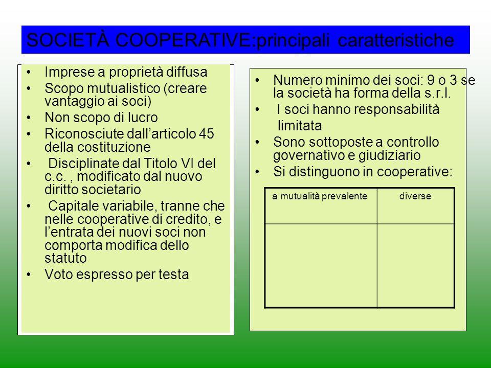 SOCIETÀ COOPERATIVE:principali caratteristiche Imprese a proprietà diffusa Scopo mutualistico (creare vantaggio ai soci) Non scopo di lucro Riconosciu