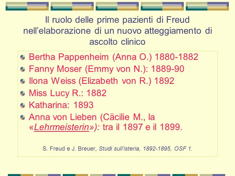 Il ruolo delle prime pazienti di Freud nell'elaborazione di un nuovo atteggiamento di ascolto clinico Bertha Pappenheim (Anna O.) 1880-1882 Fanny Moser (Emmy von N.): 1889-90 Ilona Weiss (Elizabeth von R.) 1892 Miss Lucy R.: 1882 Katharina: 1893 Anna von Lieben (Cäcilie M., la «Lehrmeisterin»): tra il 1897 e il 1899.