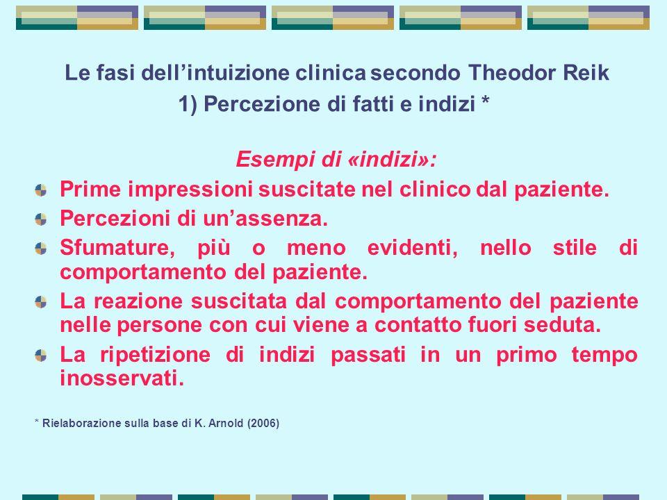 Le fasi dell'intuizione clinica secondo Theodor Reik 1) Percezione di fatti e indizi * Esempi di «indizi»: Prime impressioni suscitate nel clinico dal paziente.