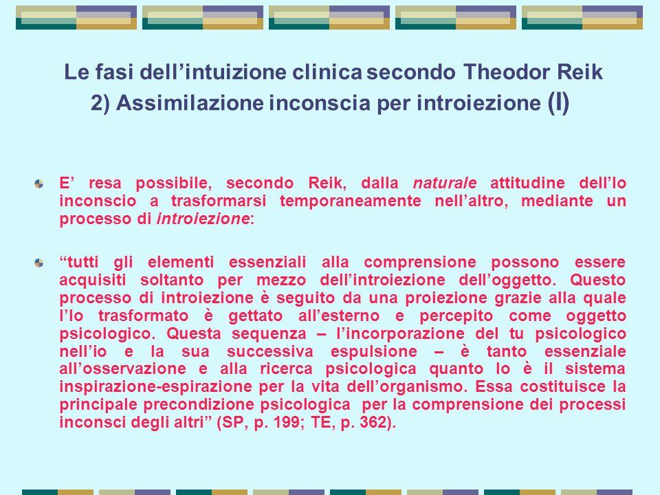 Le fasi dell'intuizione clinica secondo Theodor Reik 2) Assimilazione inconscia per introiezione (I) E' resa possibile, secondo Reik, dalla naturale attitudine dell'Io inconscio a trasformarsi temporaneamente nell'altro, mediante un processo di introiezione: tutti gli elementi essenziali alla comprensione possono essere acquisiti soltanto per mezzo dell'introiezione dell'oggetto.