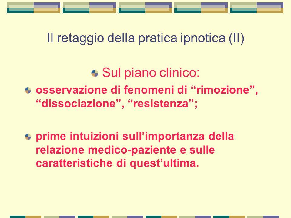 Il retaggio della pratica ipnotica (II) Sul piano clinico: osservazione di fenomeni di rimozione , dissociazione , resistenza ; prime intuizioni sull'importanza della relazione medico-paziente e sulle caratteristiche di quest'ultima.