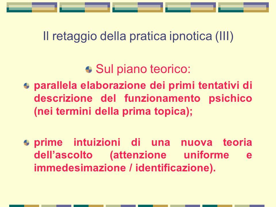 Il retaggio della pratica ipnotica (III) Sul piano teorico: parallela elaborazione dei primi tentativi di descrizione del funzionamento psichico (nei termini della prima topica); prime intuizioni di una nuova teoria dell'ascolto (attenzione uniforme e immedesimazione / identificazione).