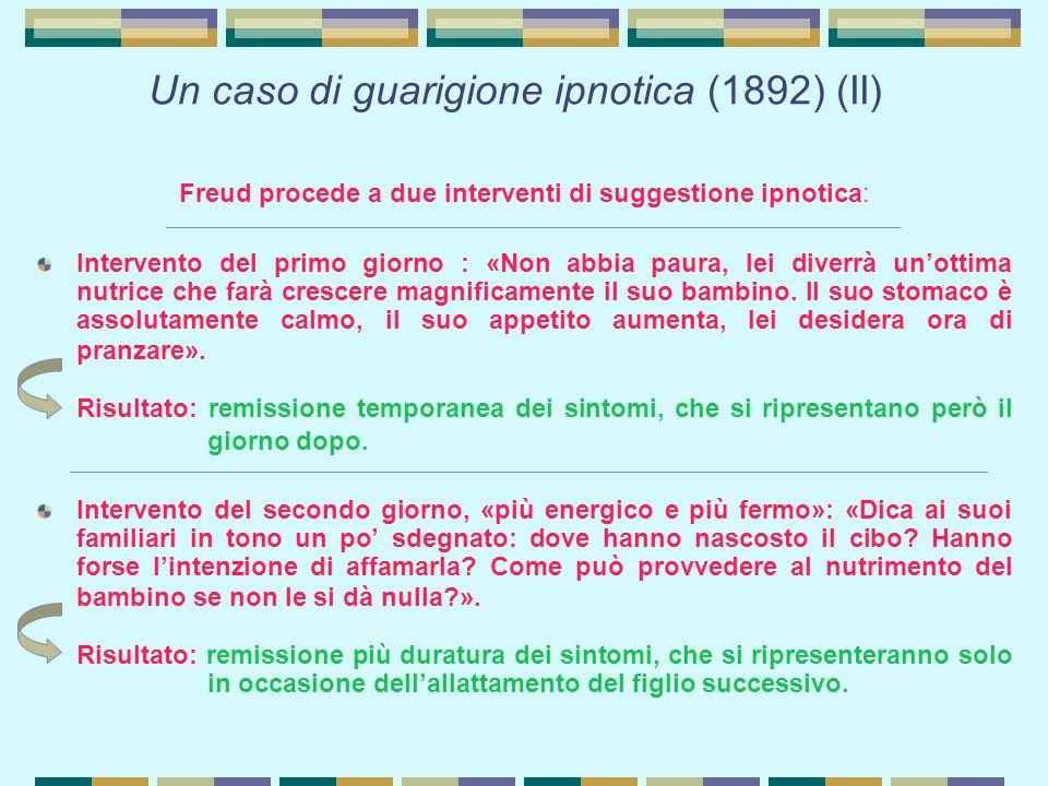 Un caso di guarigione ipnotica (1892) (II) Freud procede a due interventi di suggestione ipnotica: Intervento del primo giorno : «Non abbia paura, lei diverrà un'ottima nutrice che farà crescere magnificamente il suo bambino.