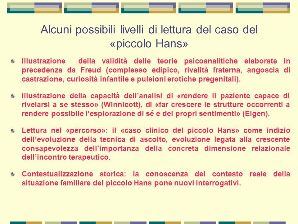 Alcuni possibili livelli di lettura del caso del «piccolo Hans» Illustrazione della validità delle teorie psicoanalitiche elaborate in precedenza da Freud (complesso edipico, rivalità fraterna, angoscia di castrazione, curiosità infantile e pulsioni erotiche pregenitali).