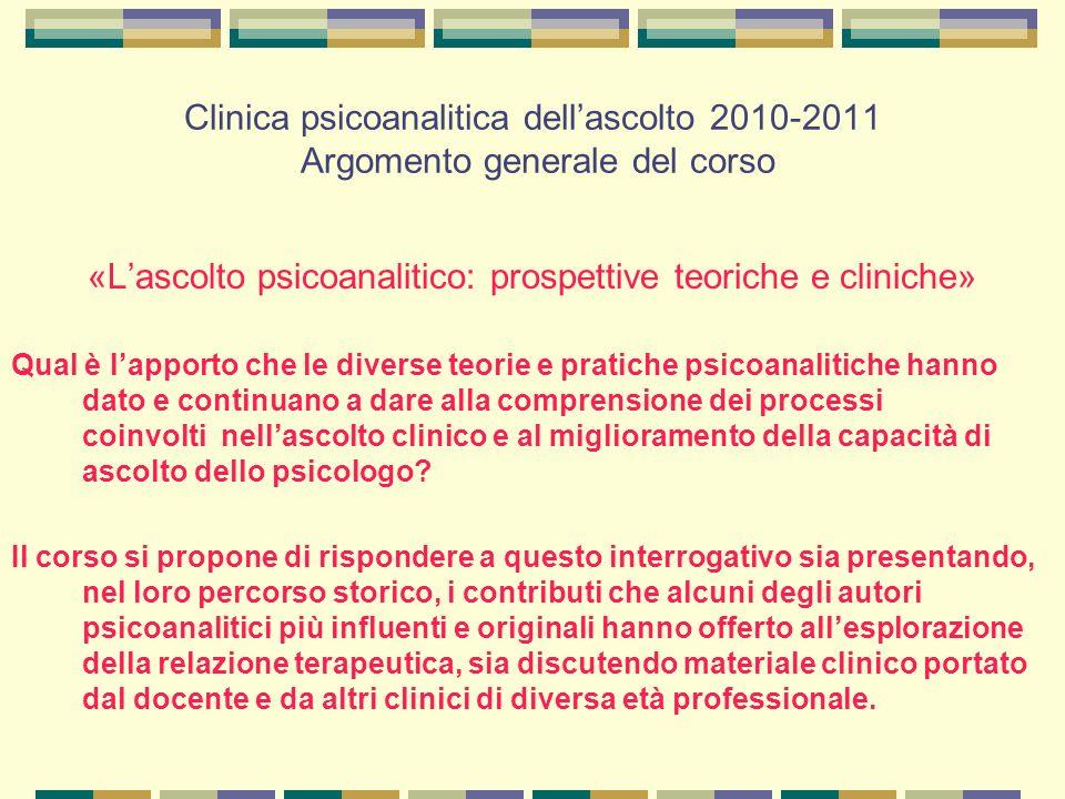Clinica psicoanalitica dell'ascolto 2010-2011 Struttura del corso Mercoledì: lezioni teoriche.