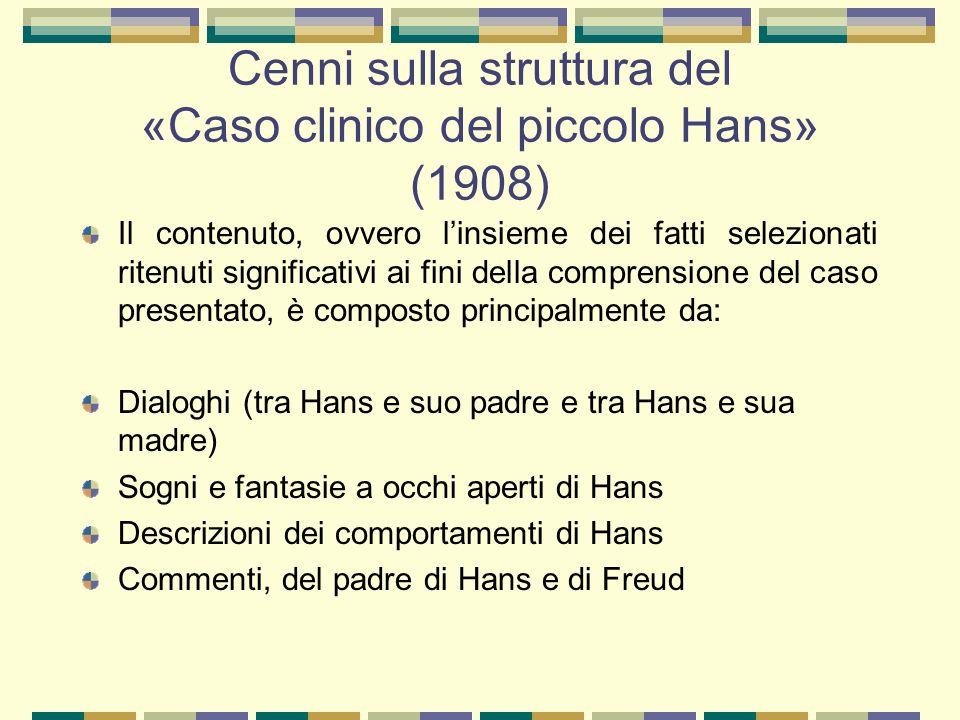 Cenni sulla struttura del «Caso clinico del piccolo Hans» (1908) Il contenuto, ovvero l'insieme dei fatti selezionati ritenuti significativi ai fini della comprensione del caso presentato, è composto principalmente da: Dialoghi (tra Hans e suo padre e tra Hans e sua madre) Sogni e fantasie a occhi aperti di Hans Descrizioni dei comportamenti di Hans Commenti, del padre di Hans e di Freud