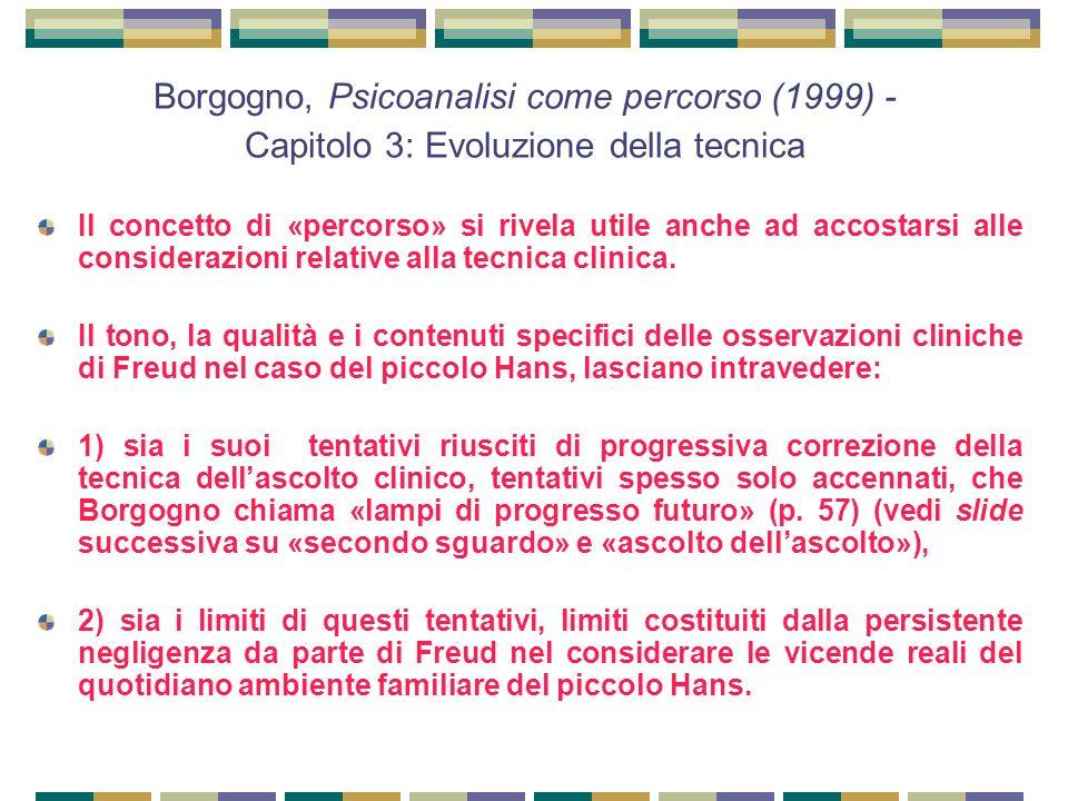 Borgogno, Psicoanalisi come percorso (1999) - Capitolo 3: Evoluzione della tecnica Il concetto di «percorso» si rivela utile anche ad accostarsi alle considerazioni relative alla tecnica clinica.