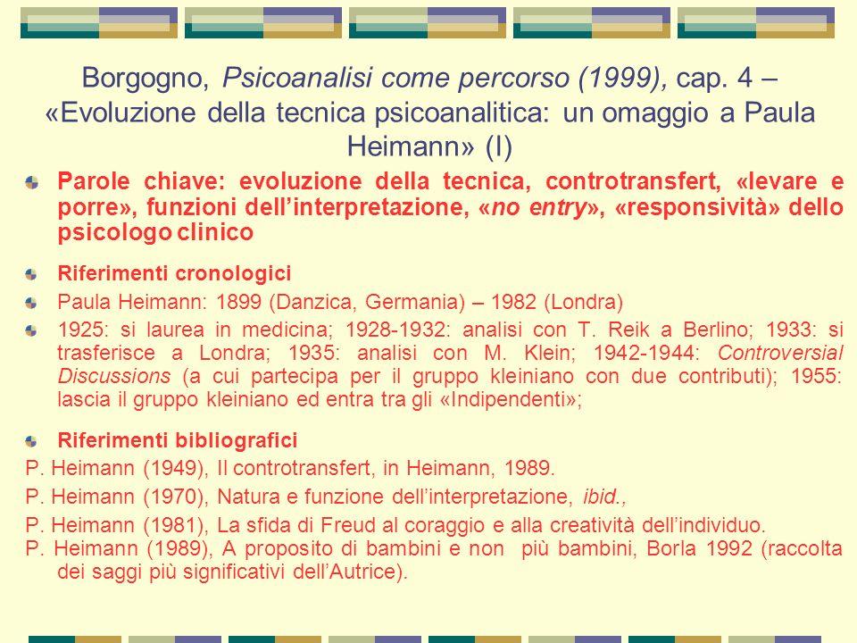 Borgogno, Psicoanalisi come percorso (1999), cap.