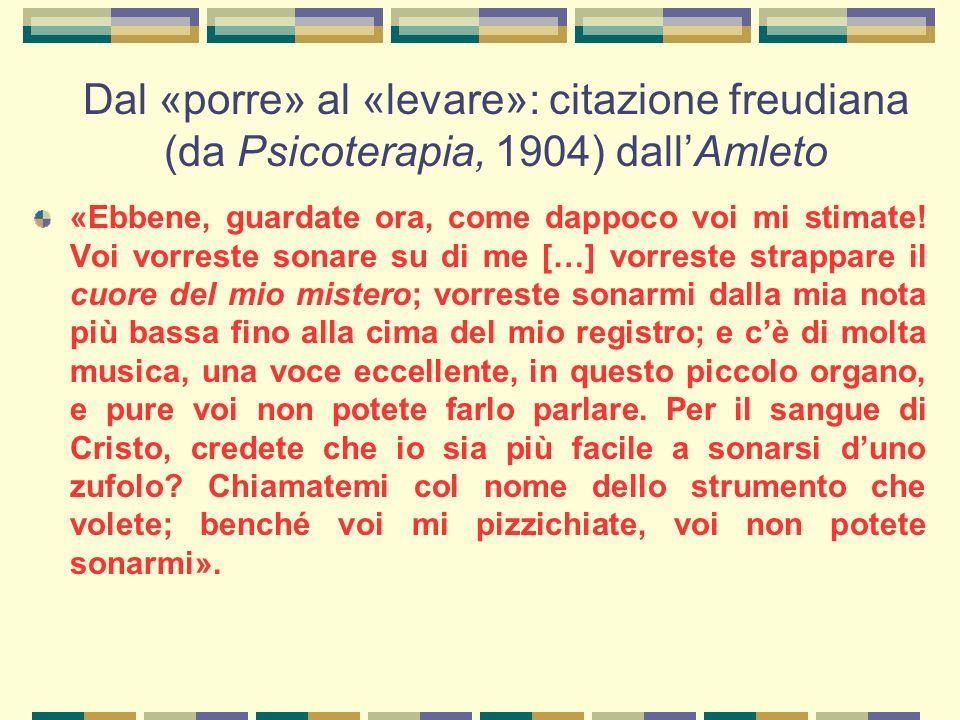 Dal «porre» al «levare»: citazione freudiana (da Psicoterapia, 1904) dall'Amleto «Ebbene, guardate ora, come dappoco voi mi stimate.